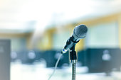 Microphone in front of computer classroom