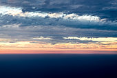 View sunset with sky and cloudy from airplane window when flying,Nature background