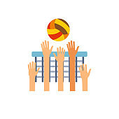 Team playing volleyball icon