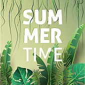 Hello summer, summertime. The text poster against the background of tropical plants. Vector Illustration.