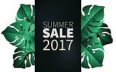 Hello summer, summertime. The text poster against the background of tropical plants. The poster for sale and an advertizing sign.  Vector Illustration.