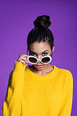 Fashion portrait of afro american young woman