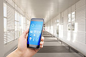 smart phone with smart home with modern corridor