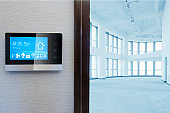 smart screen with smart home with empty modern hall