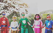 Superhero Kids Aspirations Fun Outdoors Concept