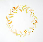 Hand drawing flowers in watercolor style on white paper background, Autumn flowers wreath with copy space for texting, greeting card background, banner