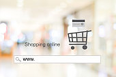 www. on address bar over blur store with bokeh background, web banner, online shopping background, business and technology, E-commerce, digital marketing
