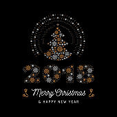 Christmas card and New Year 2018 poster. Christmas tree and number 2018 made of snowflakes. Vector illustration