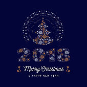 Christmas card and New Year 2018 poster. Christmas tree and number 2018 made of snowflakes. Minimal design, corporate business style greeting card. Vector line art illustration