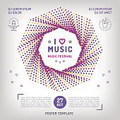 Music festival Party invitation Arts flyer. Classic, electronic or rock, jazz concert. Vector music retro square banner