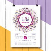 Music festival Party poster template A4 size. Arts flyer, Event invitation, Classic, electronic or rock, jazz concert