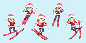 woman is skiing