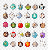 Collection of doodle christmas balls