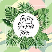 enjoy summer time text quote with tropic design.
