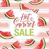 Summer sale - hand drawn lettering phrase isolated on background with watermelon. Advertising template for banner, shop and store poster design and season flyers.