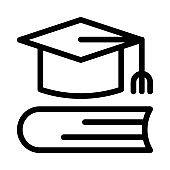 graduation study Vector Thin Line Icon