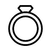 diamond ring Thin Line Vector Icon