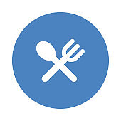 SPOON AND FORK  Glyphs flat circle icons