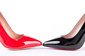 Red and black classic high heels.