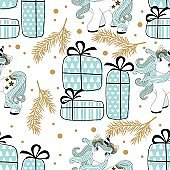 Holiday seamless pattern with Christmas unicorn and festive elements. Vector illustration.