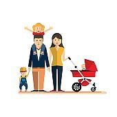 Happy Family Isolated Flat Style Vector Illustration Eps10