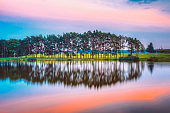 Water Surface Of Lake Pond River At Summer Sunny Evening. Nature Of Belarus And European Part Of Russia