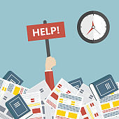 Deadline concept. Businessman in office needs help under a lot of documents and holding a HELP placard. Flat vector illustration
