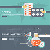 Pharmacy and research laboratory banners. Health care and medicine concept. Flat vector illustration