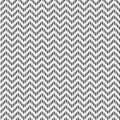 Vector seamless zigzag pattern. Chevron texture. Black-and-white background. Monochrome dashed design.