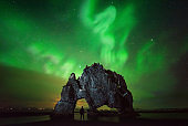 Hvitserkur hiker aurora