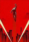 Vector Retro Style Illustration of a Superhero Flying in the City