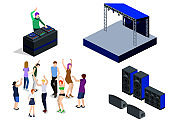 Isometric 3D vector collection of objects for the creation of a night club