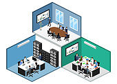 Isometric 3D illustration set Interior of department conference with workplaces