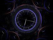 Time Machine. Mechanism of eternity. 3D surreal illustration. Fractal Time series.