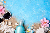 Summer holiday background. Beach accessories. Vacation and travel concept