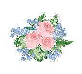 Flower bouquet spring garden background. Greeting card decor. Fl