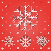 Set of white snowflakes. Vector illustration on a colored background.