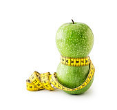Green Apples with Measuring Tape , isolated