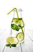 Lemon, water, white background