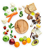 Healty eating, vegatables, fruits, empty wooden plate