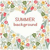 flowers frame with colorful floral heart summer time theme.
