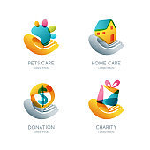 Set of charity, donation and care vector icon, emblem. Concept for voluntary humanitarian helping