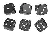 3d rendering of a set of six black dice with white dots hanging in half turn showing different numbers.