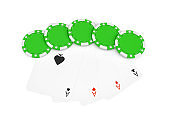 3d rendering of green casino chips with four different ace cards isolated on a white background