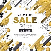 Autumn sale banner. Frame with 3d style gold outline fall leaves and motion geometric shapes. Vector poster background.