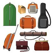 Luggage with handle, animal cage, leather purse, tube for documents