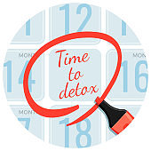 Time to detox day circled with red marker