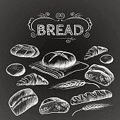 Bread items set isolated illustration on dark grey