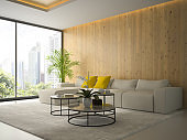 Interior of living room with tree coffee table 3D rendering