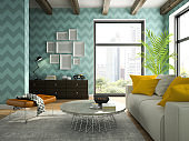 Interior of living room with blue wallpapers 3D rendering